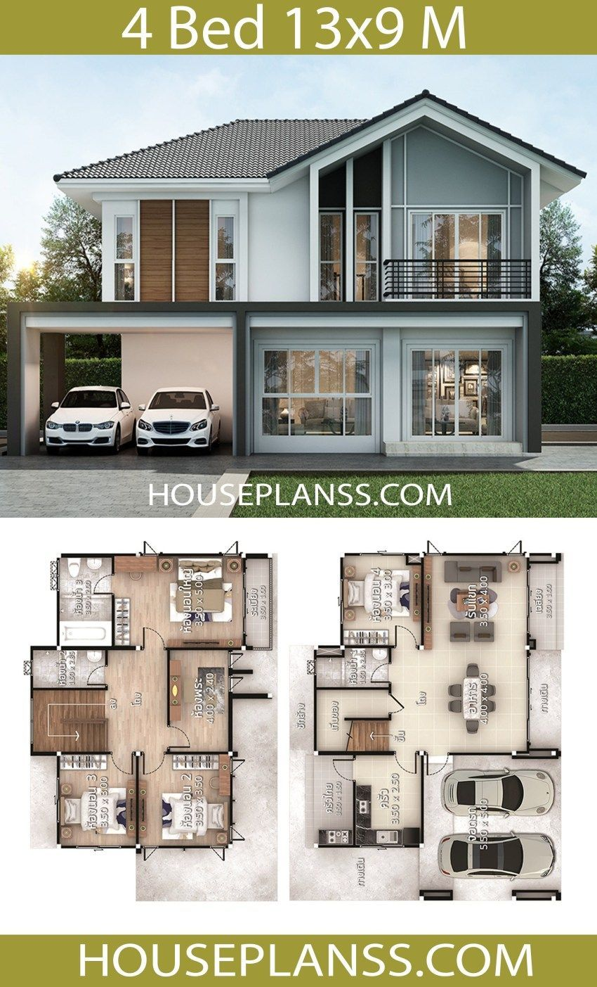 House Plans Design Idea 13x9 With 4 Bedrooms House Plans Sam Kitchen Bedroom Homedecori House Construction Plan Small Modern House Plans Small House Plans
