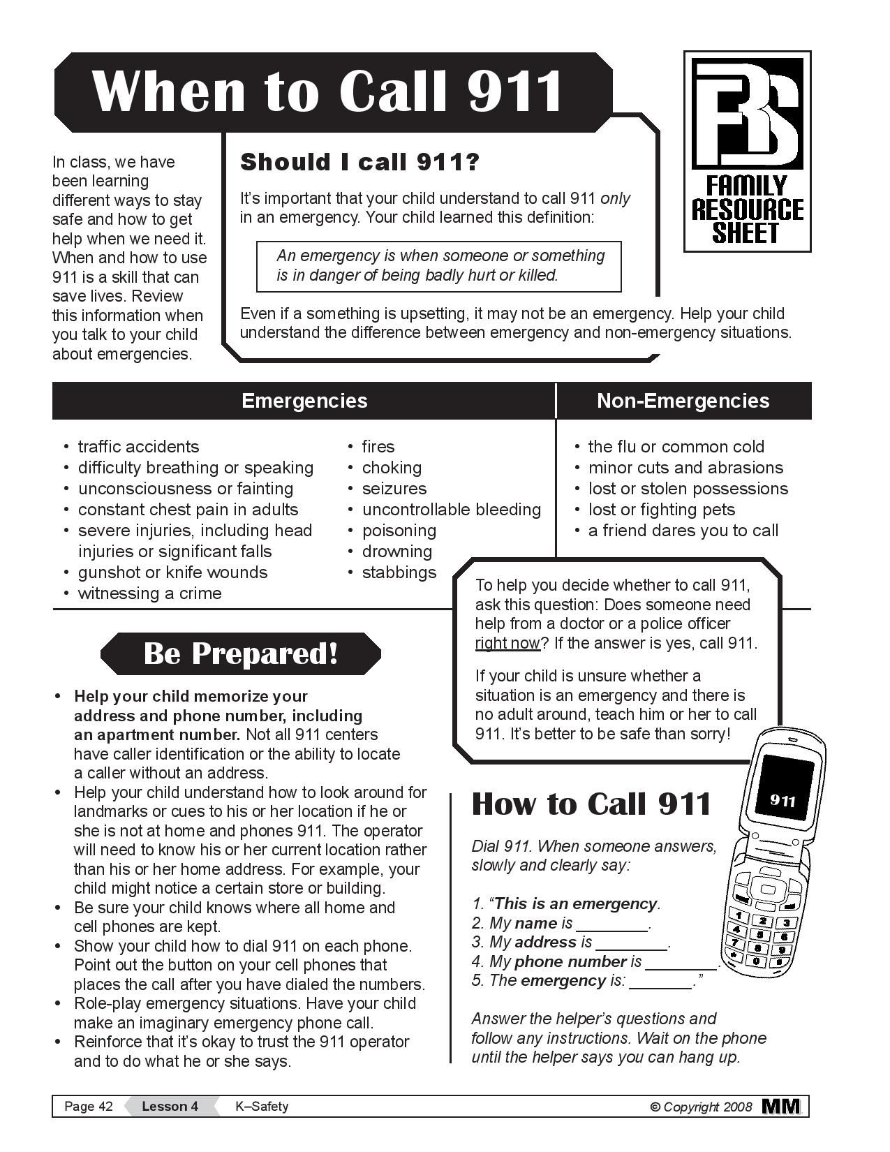 When to Call 911 - Great printout for kids. Keep by the phone in case of emergencies and review ...
