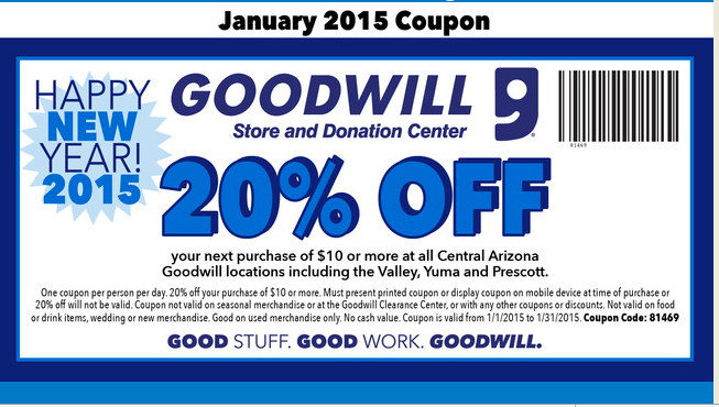 graphic regarding Goodwill Coupons Printable identified as January 2015, Goodwill 20% Off Coupon I cant imagine it is