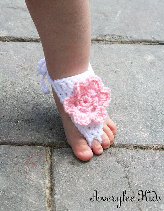 Baby Barefoot Sandal, Crocheted Baby Sandles with Bubble Gum Pink ...