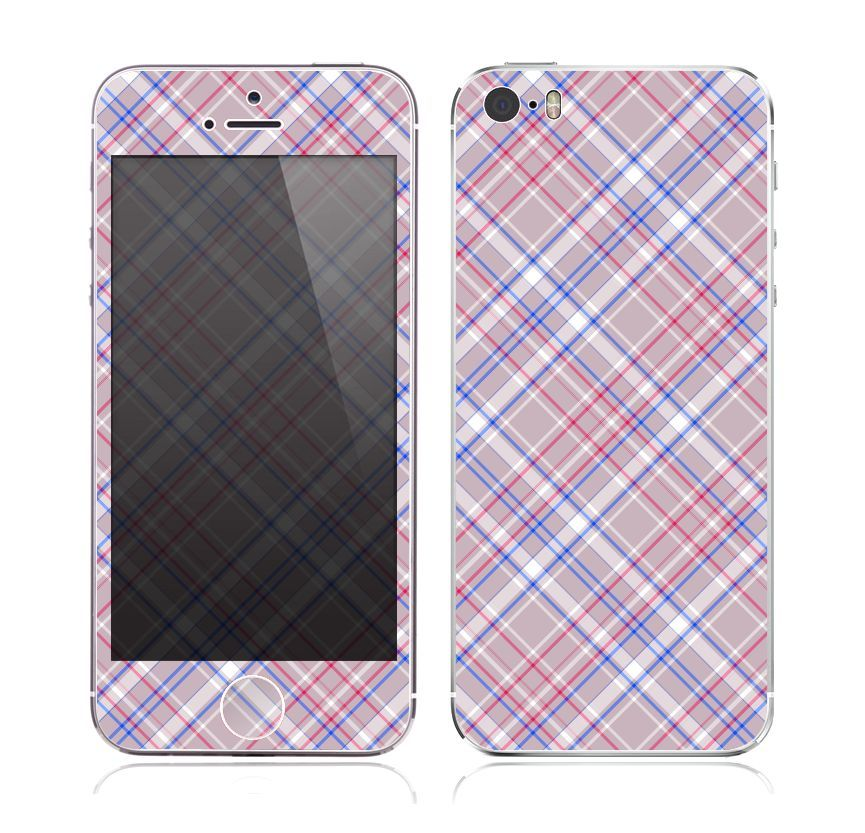 The Pink and Blue Layered Plaid Pattern V4 Skin for the Apple iPhone 5s