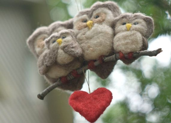 Needle Felted Owl Ornament Family of Four by scratchcraft on Etsy