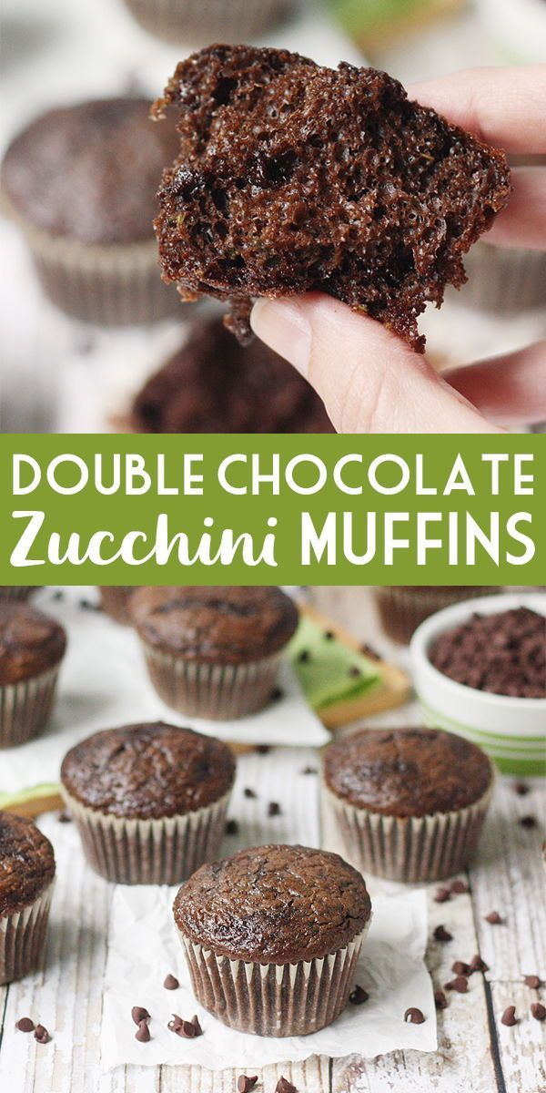 Easy Double Chocolate Zucchini Muffins | Half-Scratched