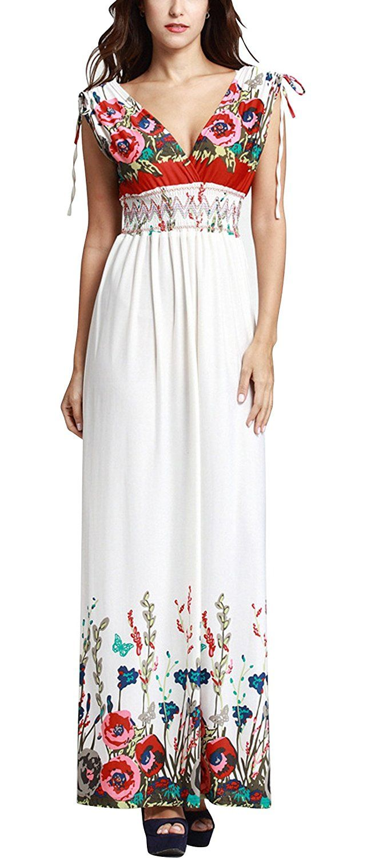 Duolaniu Womens Deep V-neck Bohemian Casual Maxi Dress ...