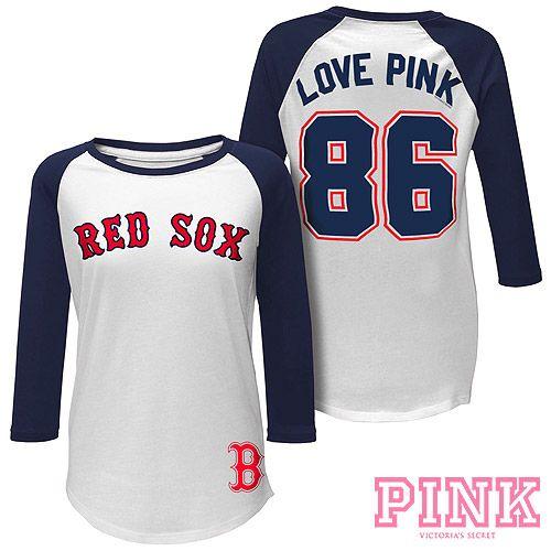 Boston Red Sox Victoria S Secret Pink Baseball Tee Mlb Com Shop Sports Shirts Pink Baseball Tee Team Apparel