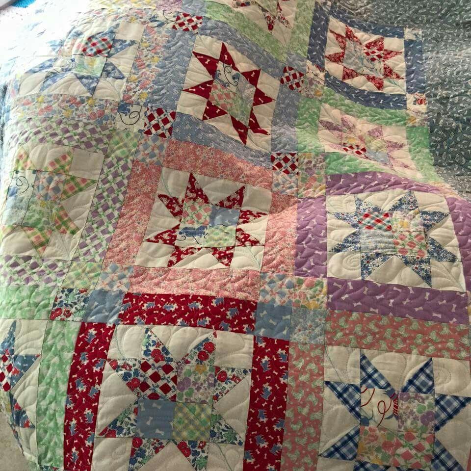 Vintage Hand Quilted Handmade Quilt Patchwork Quilt Cross Pattern Farmhouse Decor Cottage Chic Rustic Primitive 2