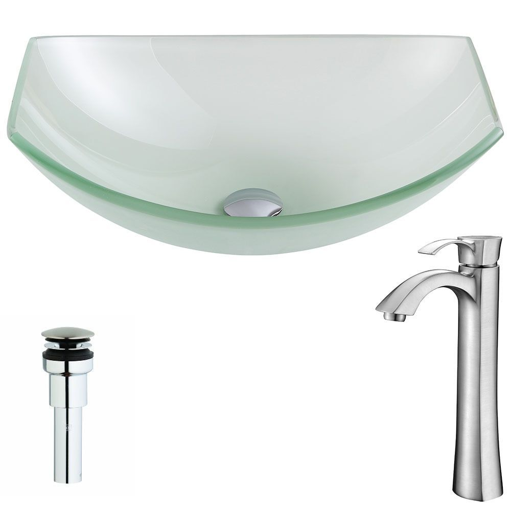Anzzi Pendant Series Deco-glass Vessel Sink in Lustrous Frosted ...