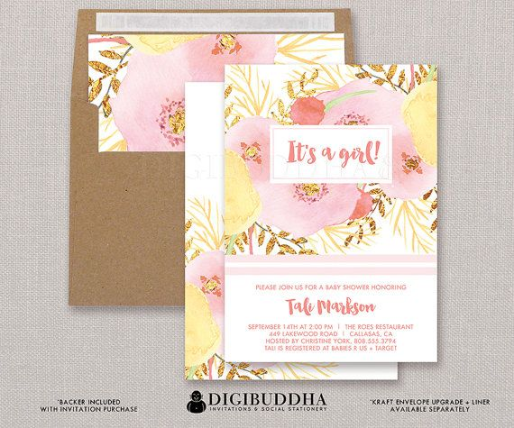 pink watercolor floral baby shower invitation flowers gold foil, Baby shower invitations