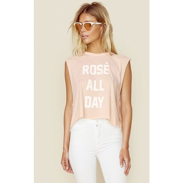 The Laundry Room Rose All Day Muscle Tank ($54) ❤ liked on Polyvore featuring tops, tank tops, pink, loose fit tank top, graphic muscle tank, loose fit tank, crop top and loose fitting tank tops