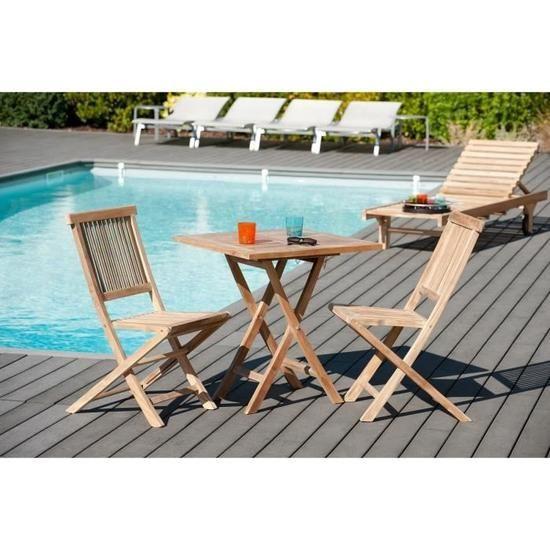 Table de jardin en bois teck carrée pliante 70 x 70 cm ...