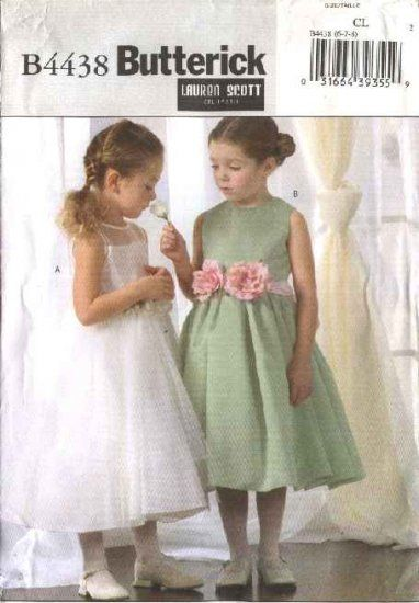 Butterick Sewing Pattern 4438 Girls Size 2-3-4-5  Formal Flower Girl Confirmation Sleeveless Dress