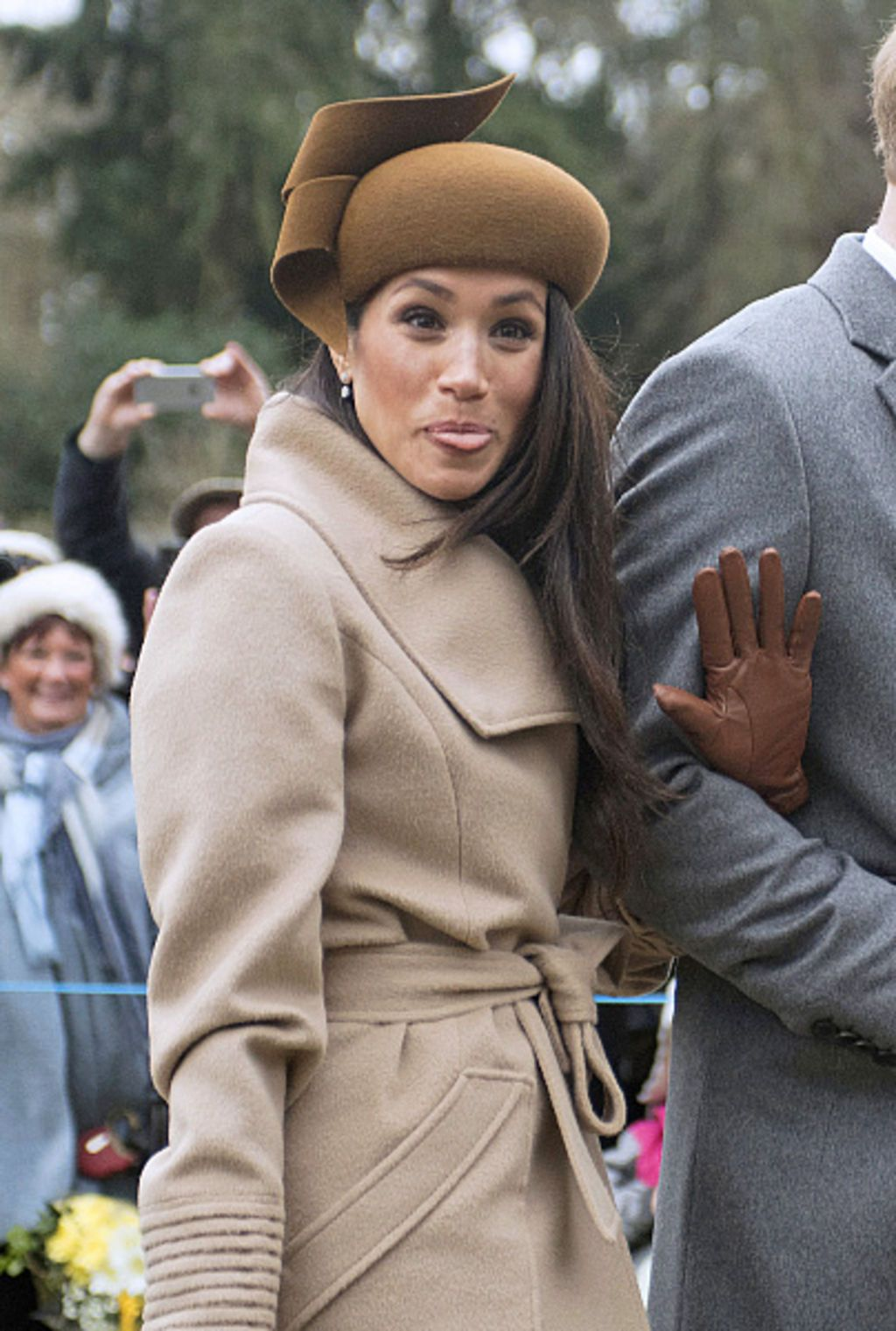 Meghan Markle, accompagnée du prince Harry et de la famille royale, arrive à la messe de Noël à Sandringham, le 25 décembre 2017