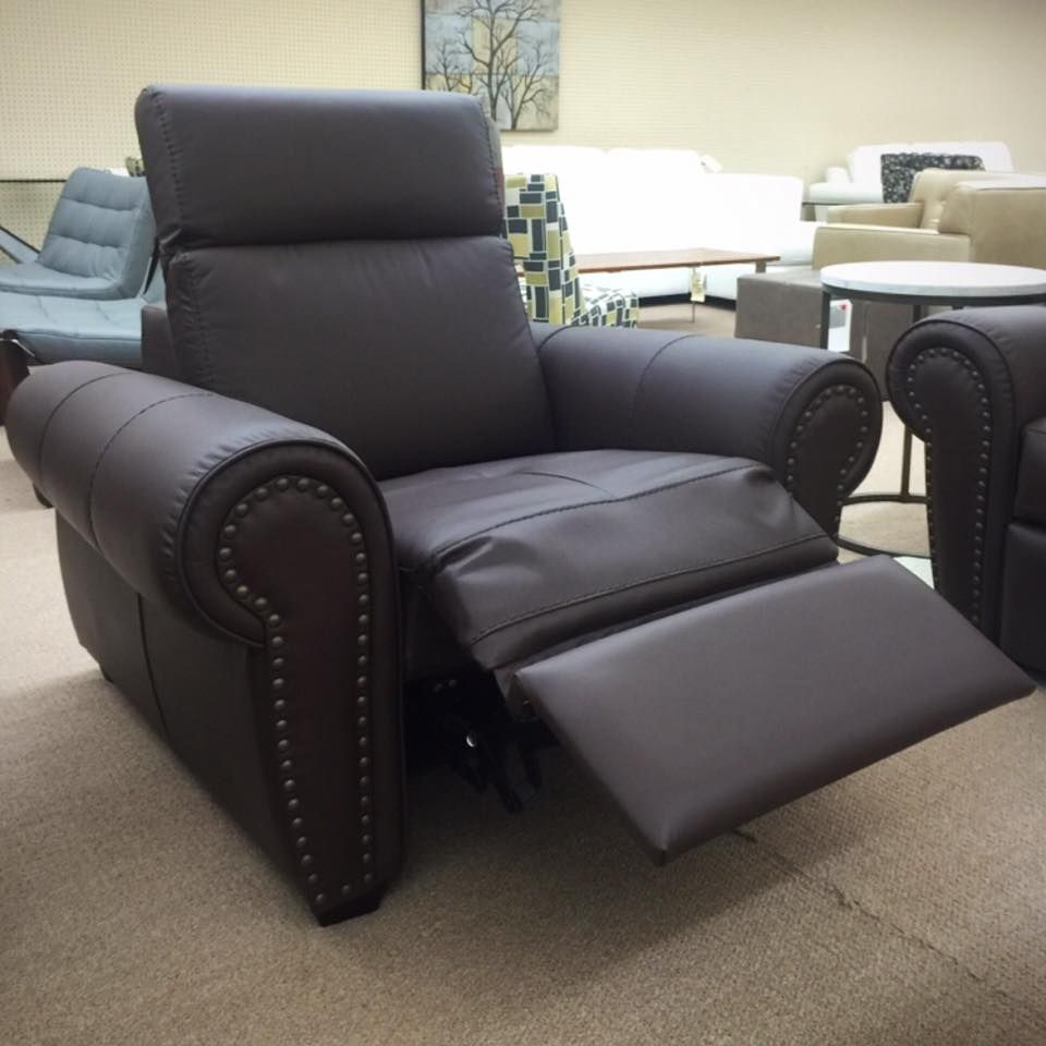 Exceptional Dark Brown Leather Sofa With Nails. Ellis Brothers Furniture Store
