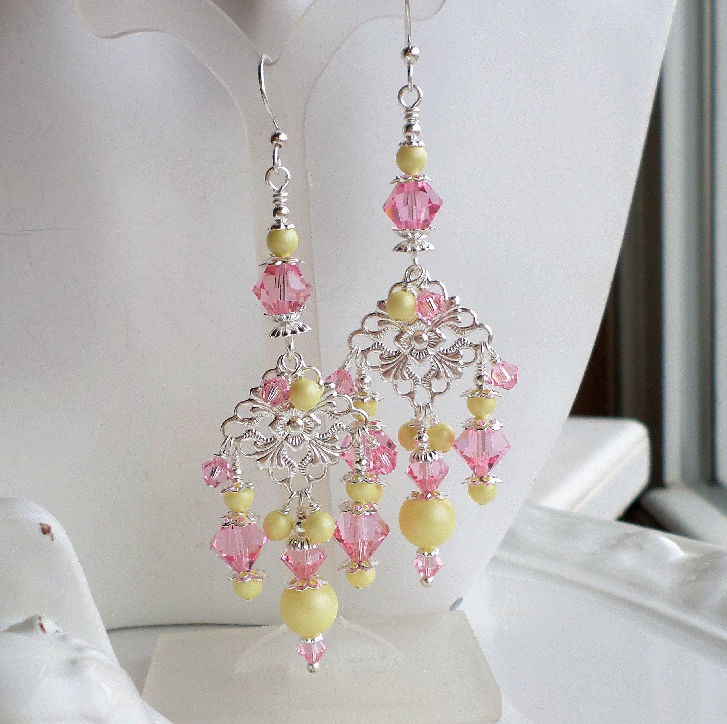 Pink Yellow Long Chandelier Earrings Silver Filigree Earrings