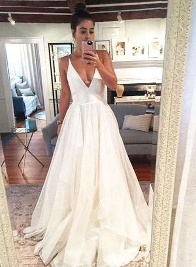 Simple A Line Spaghetti Straps White Wedding Dresses With Ruffles Wedding Dress Necklines Wedding Dresses Dream Wedding Dresses