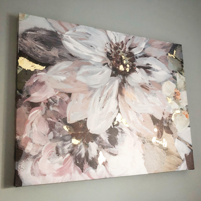 Blush and grey floral canvas grey wall art grey and