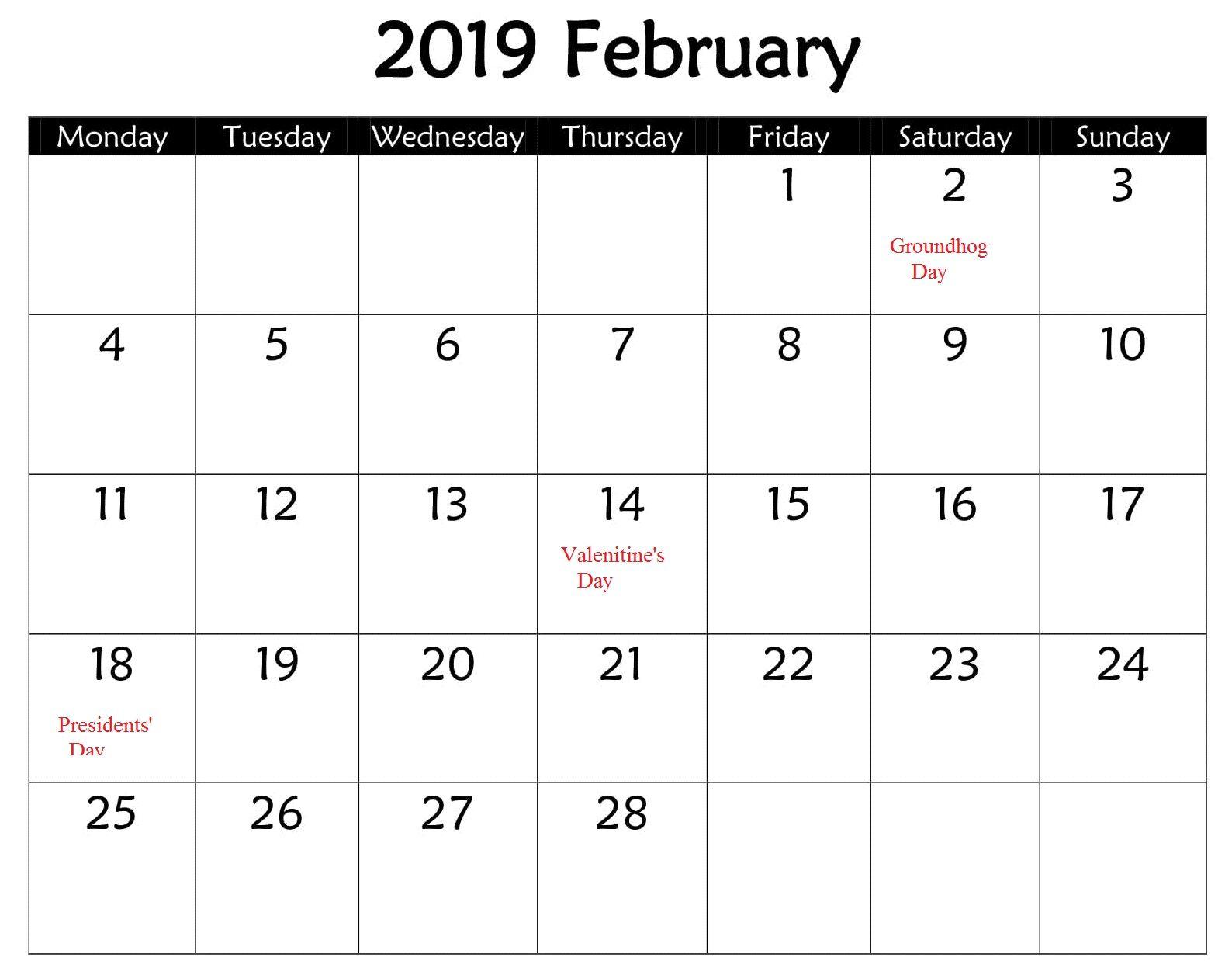 February Calendar Business With Holidays 2019 | February ...