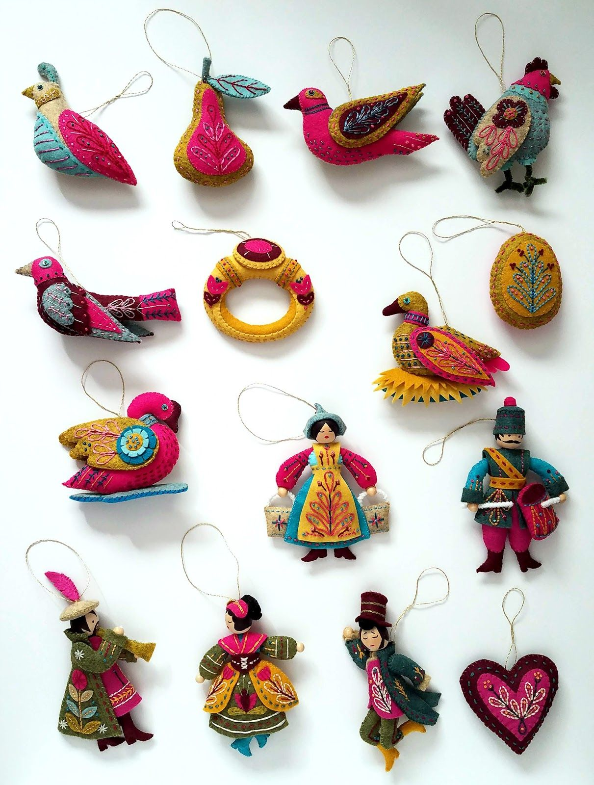 Finished 12 Days Of Christmas Ornaments Pattern By Mmmcrafts As Stitched By Flor Felt Christmas Ornaments Felt Ornaments Patterns Christmas Ornament Pattern