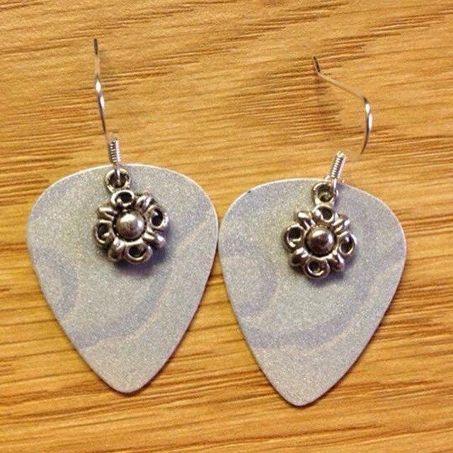 Flower Sparkle Guitar Pick Earrings by RockingCardJewelry on Etsy