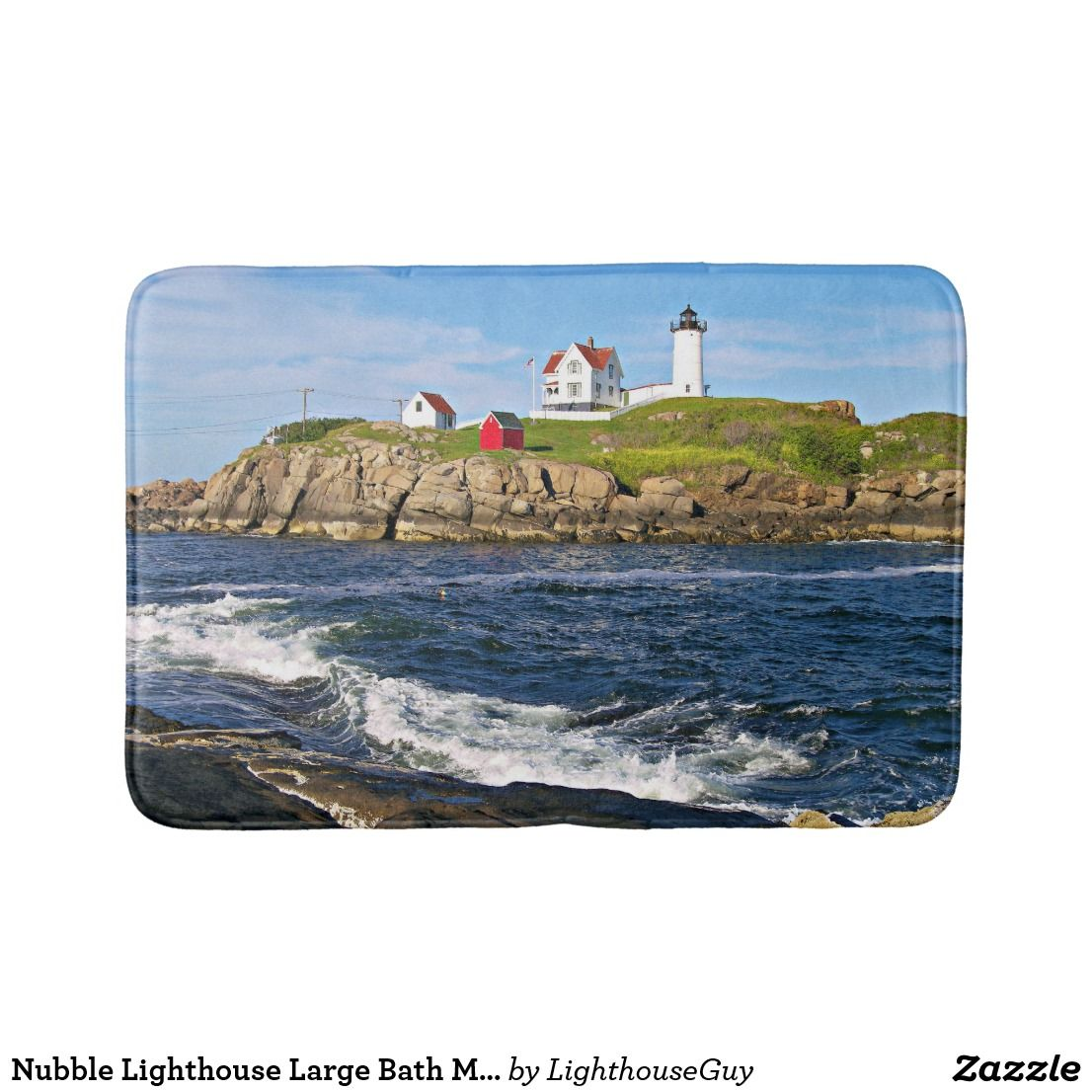 exceptional Lighthouse Bath Mats Part - 8: Nubble Lighthouse Large Bath Mat