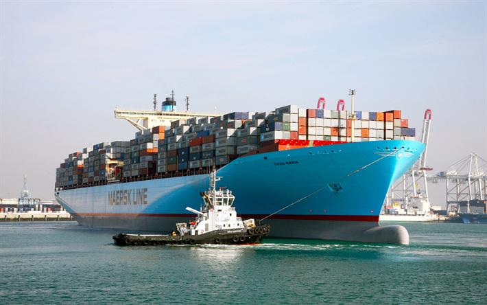 Descargar fondos de pantalla eugen maersk barco de contenedores transporte de carga entrega - Contenedores de barco ...