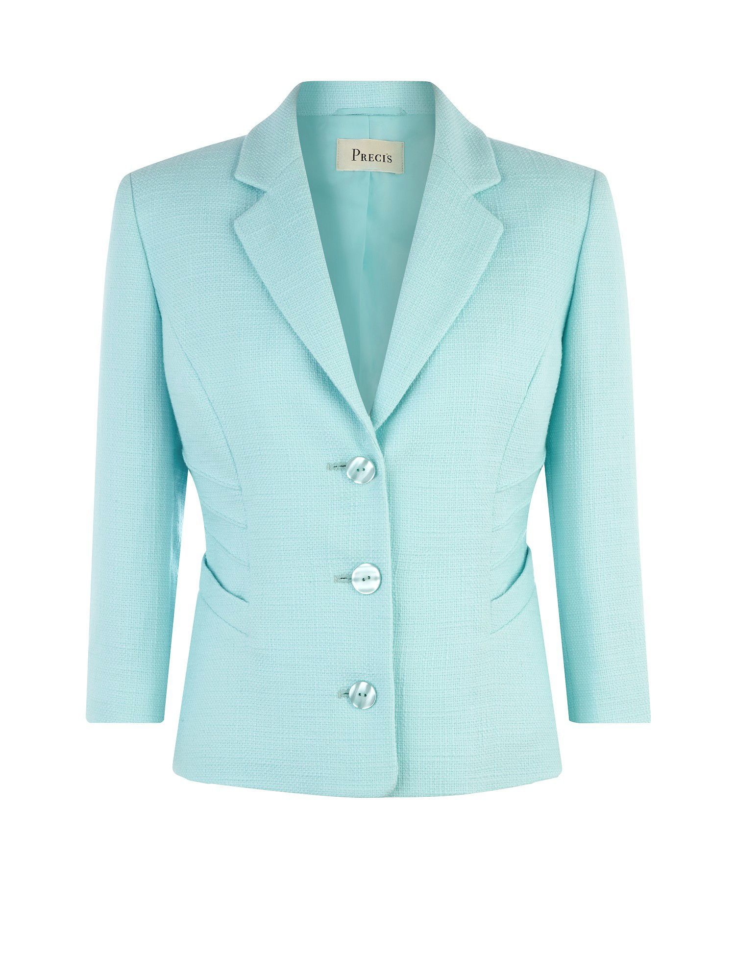 Take your tailoring to the next level with this bright aqua jacket ...