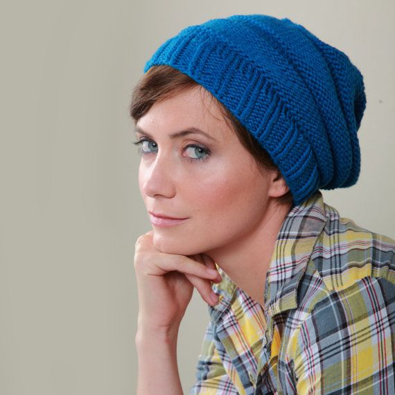 Organic Cotton Slouchy Hat in Ocean Blue - Hand Knitted Easy Cap ...