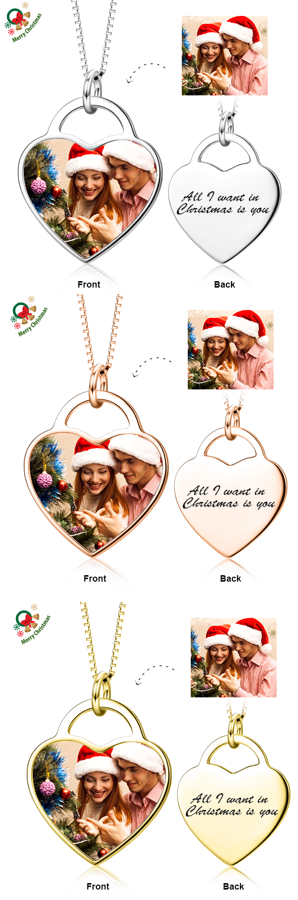 Christmas Gift-Customize Your Color Photo&Text in Love Heart Pendant Necklace in Sterling Silver/14K Gold 2017 hottest write name on jewellery. Come to Yafeini to pick your beloved Personalized necklace https://www.jewelrypersonalizer.com