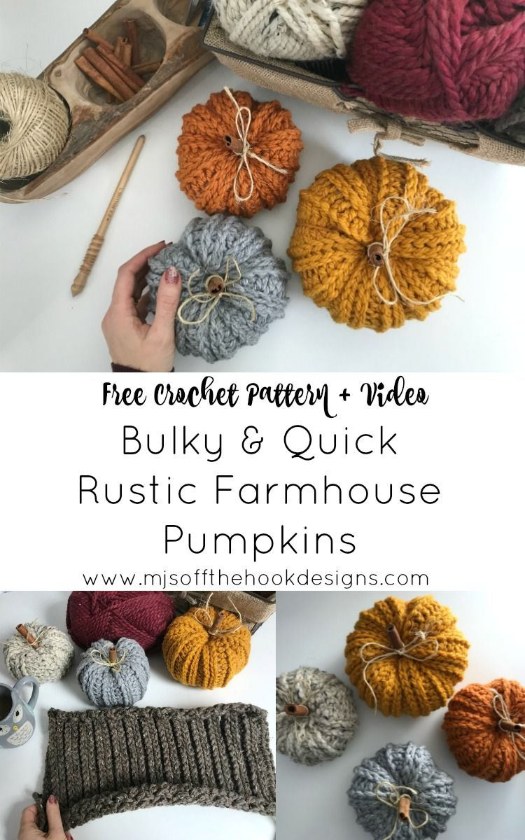 How to Crochet Rustic Farmhouse Pumpkins - MJ's off the Hook Designs