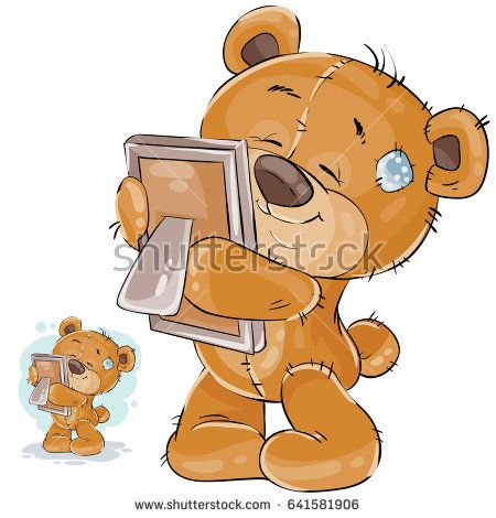 Vector Illustration Of A Brown Teddy Bear Misses Someone And Hugs A Photo I Miss You Print Template Des Brown Teddy Bear Bear Illustration Cute Teddy Bears