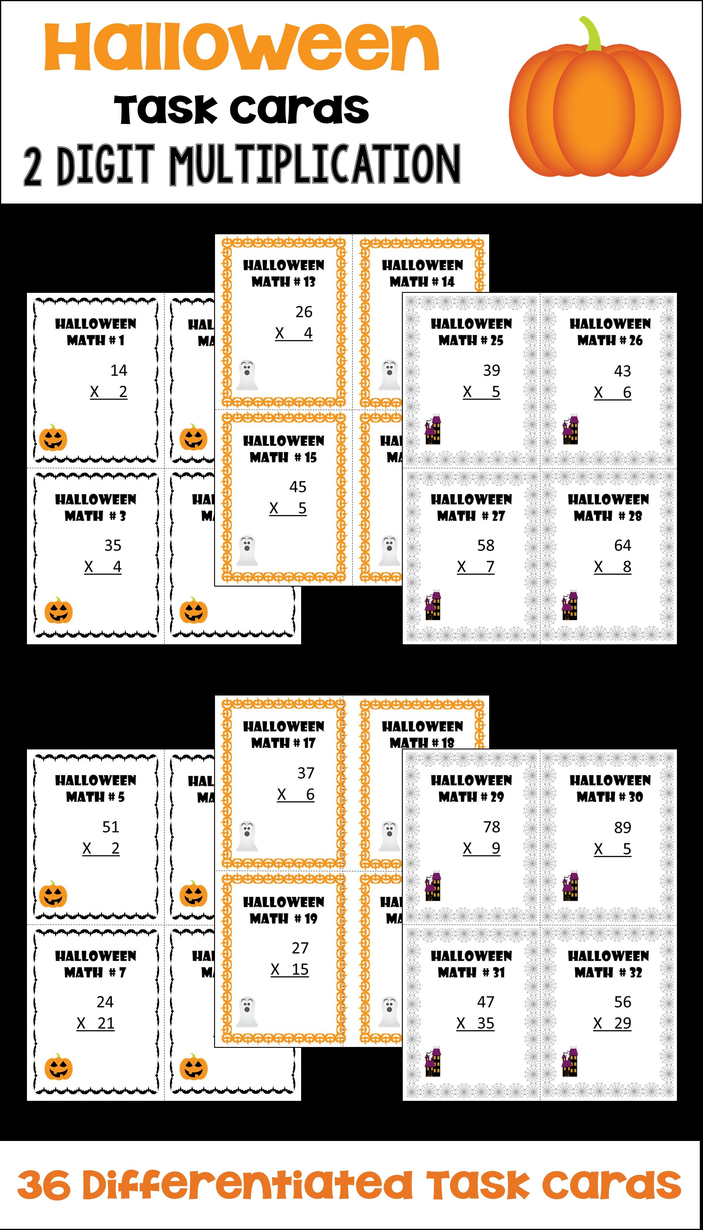 Halloween Math 2 Digit Multiplication Task Cards