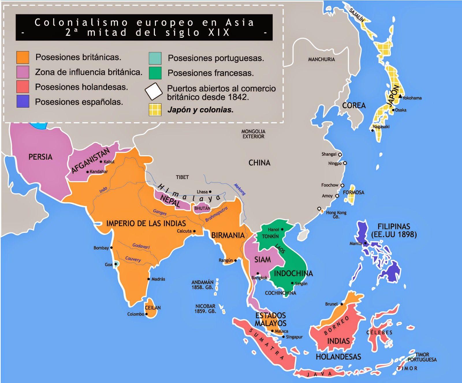 Colonialismo europeo en Asia segunda mitad del siglo XIX