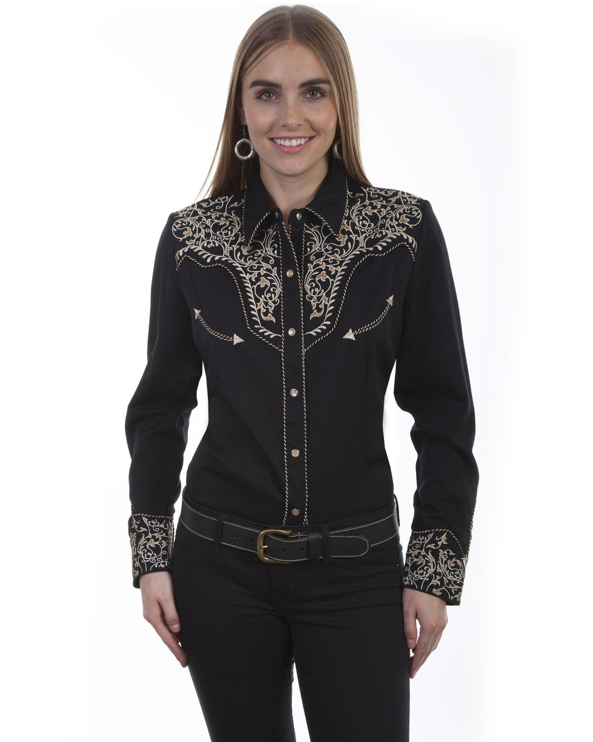 Scully New Western Shirt Women/'s Snap Two-Tone Scroll Embroidery Black Denim Tan