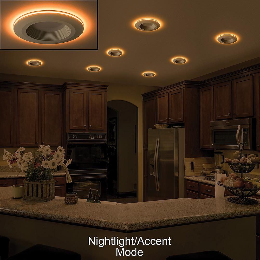 Commercial Electric 6 In Selectable Integrated Led Recessed Trim Can Light With Night Light Feature 5 Cct 670 Lumens Dimmable 8 Pack 53804101 8pk The Home Recessed Lighting Can Lights Kitchen Recessed Lighting