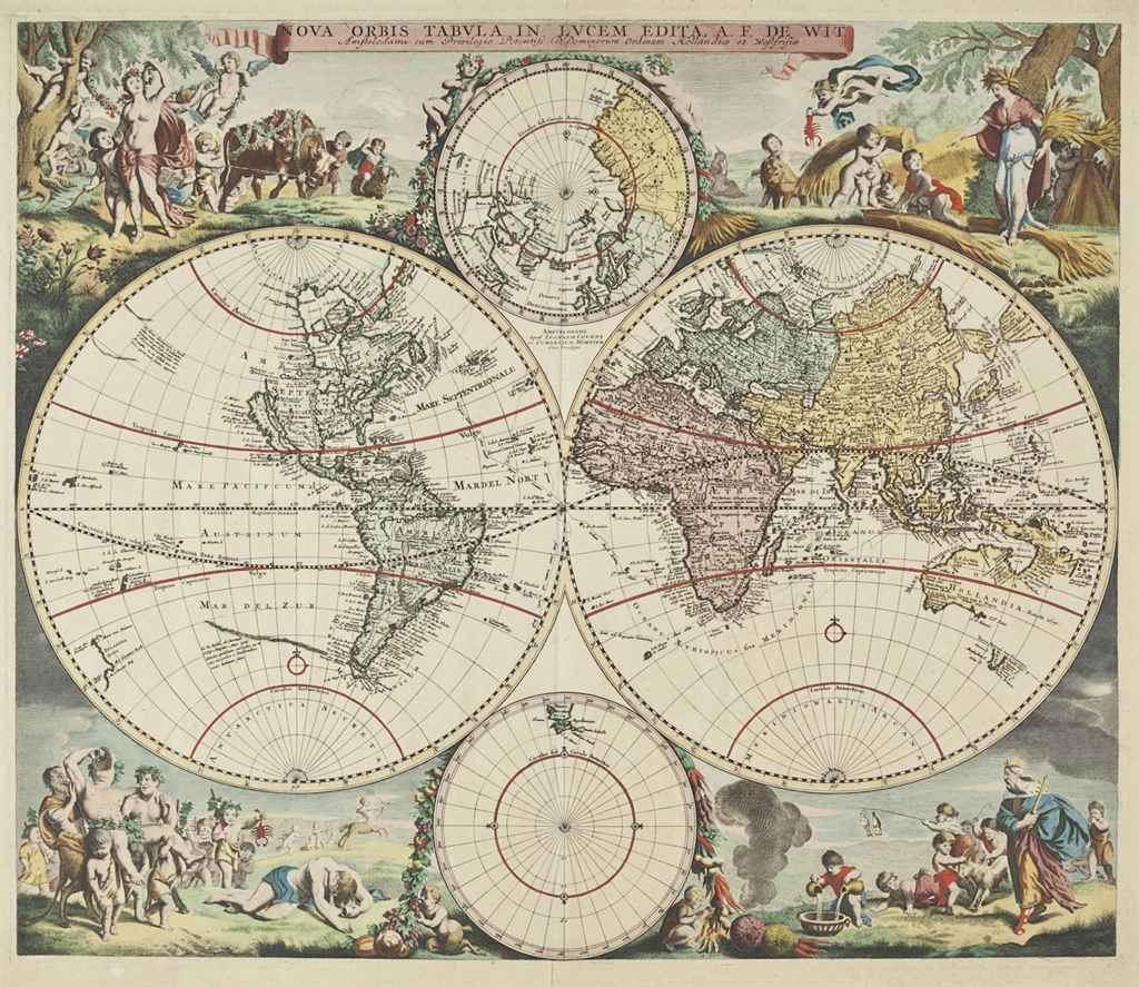Wit frederick de 1630 1706 nova orbis tabula in lucem edita af orbis tabula in lucem edita a amsterdam covens and mortier ca engraved double hemisphere world map with 2 smaller maps of the north and south poles gumiabroncs Images