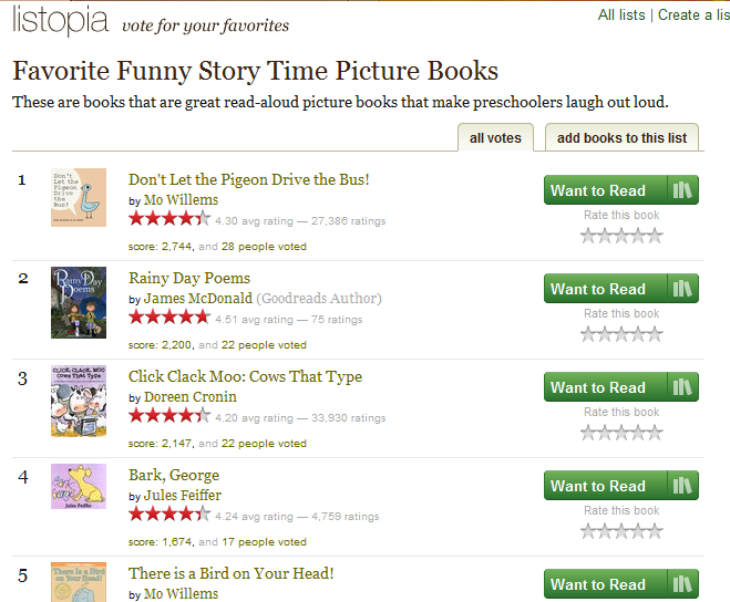 List of Favorite Funny Story Time Picture Books:  These are books that are great read-aloud picture books that make preschoolers laugh out loud.   Link goes directly to page.  The site didn't let me pin any images so I took a screenshot.  http://www.goodreads.com/list/show/6201.Favorite_Funny_Story_Time_Picture_Books#8492649
