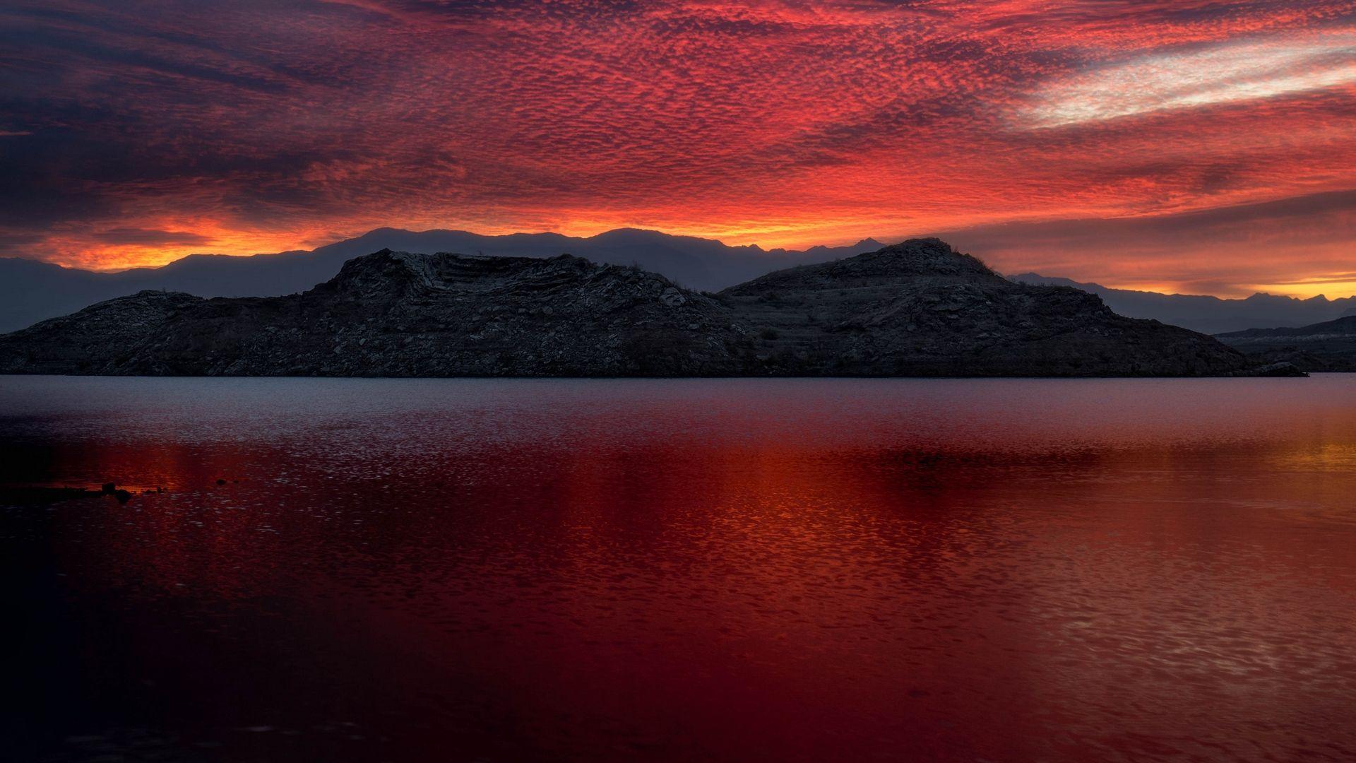 Wallpaper Sunset Usa Lake Mead Mountains Sunset Lake Mead Mountains Wallpaper sea dusk mountains sunset lake
