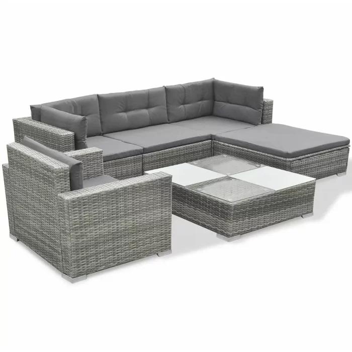 Rosenbaum Garden 6 Piece Rattan Sofa Seating Group With Cushions