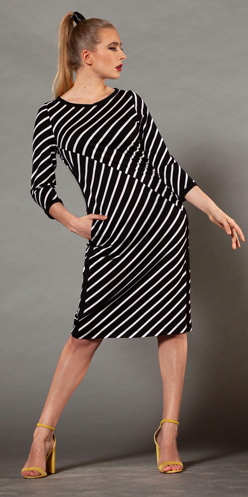 ebb | kleid | kleider, schwarz weiße streifen, schwarz weiß