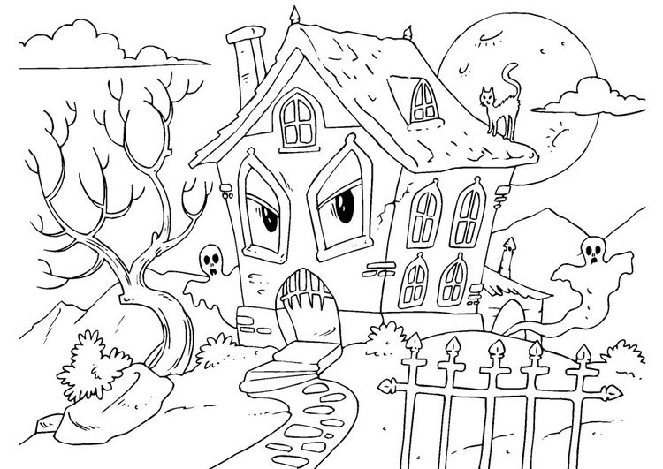Free Haunted House Coloring Page Halloween Pages For You To Color Online Or Print Out And Use Crayons Markers Paints