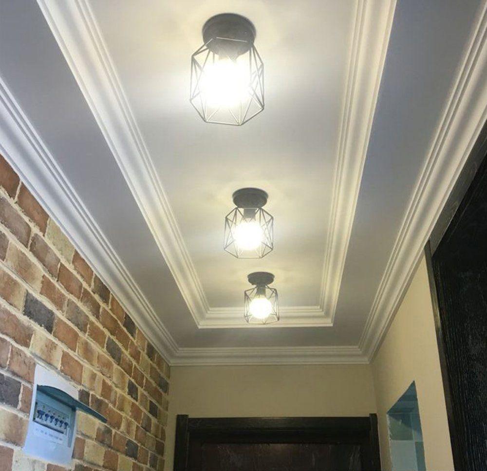 Nuodifan Vintage Deckenleuchten Retro E27 Lampenfassung Leuchtmittel Metall Lampenschirm Deckenlampe Semi Fl Leuchtmittel Beleuchtung Decke Deckenlampe
