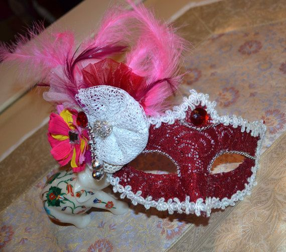 Red Wine Masquerade Bridal Mask Mascarade mask by creatingwithni