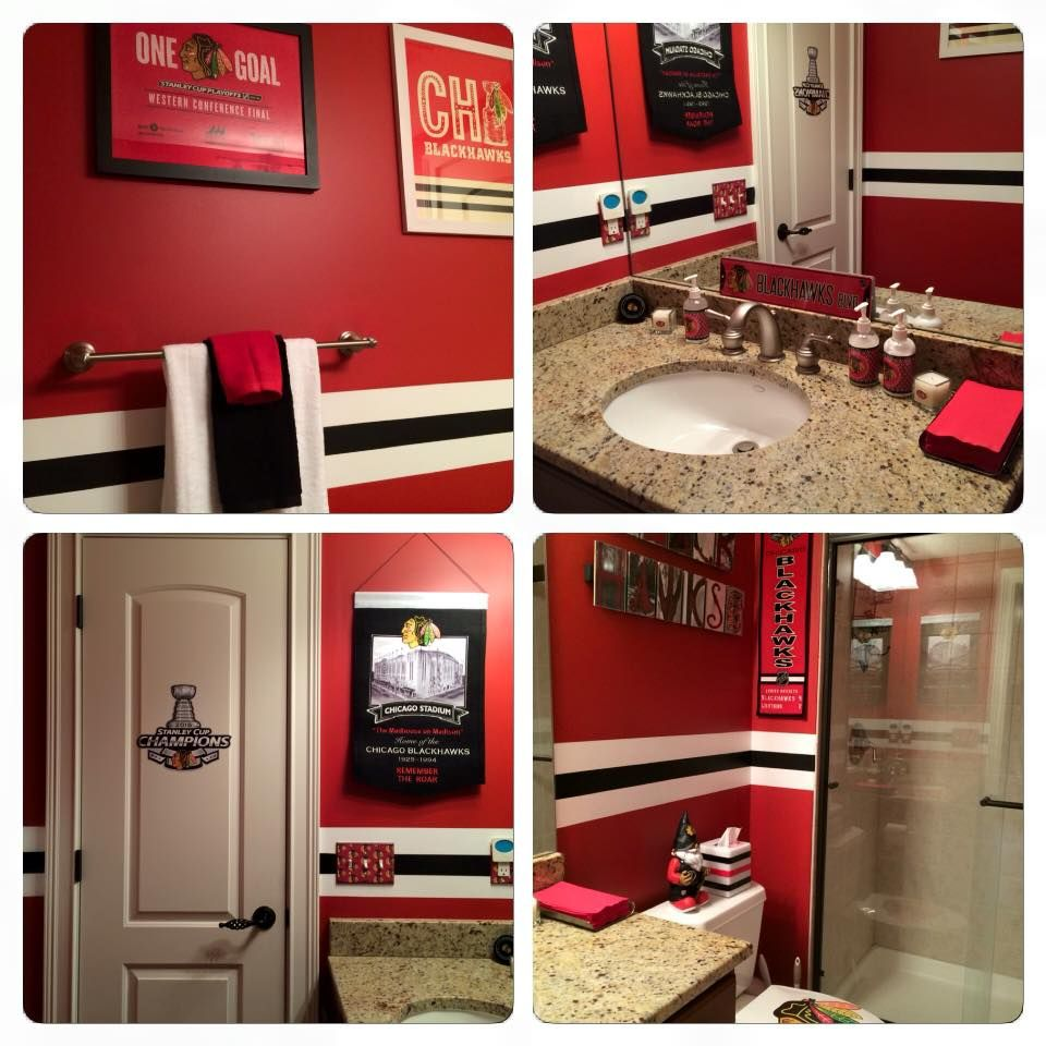 check out this blackhawks bathroom hawks at home pinterest check out this blackhawks bathroom sports bathroomman bathroombathroom ideasbasement
