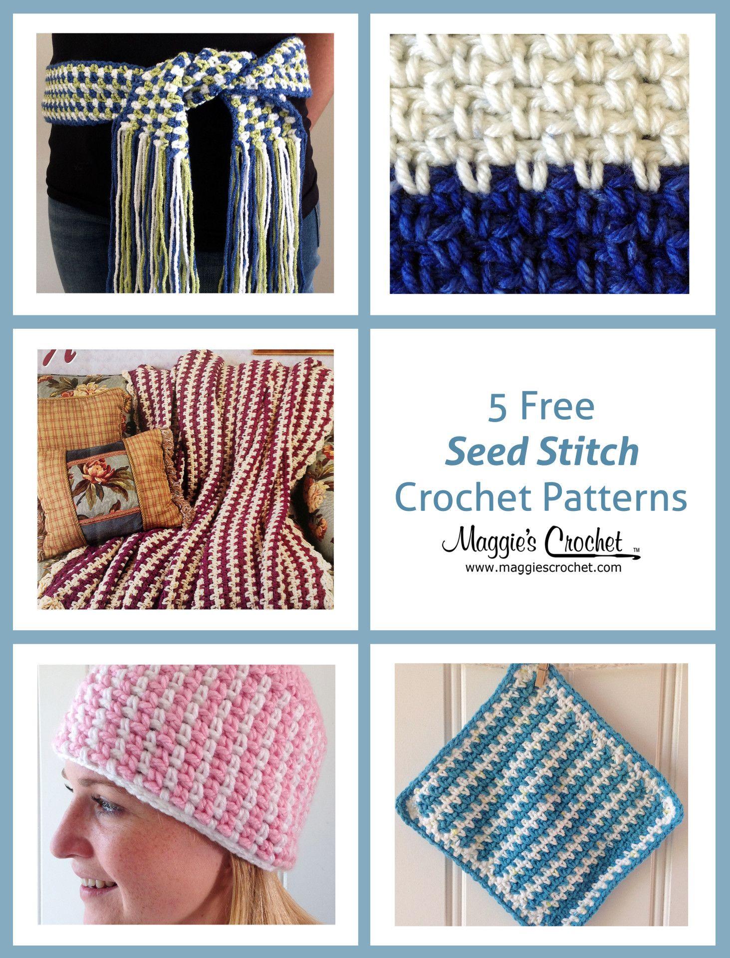 Five Freebies – Seed Stitch Free Crochet Patterns | BOLSONES Y OTROS ...