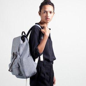 The Reverse-Denim Snap Backpack