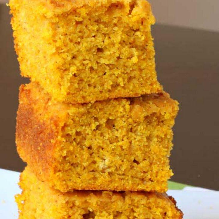 Pumpkin Cornbread Recipe Breads with flour, baking powder, kosher salt, ground cinnamon, ground nutmeg, brown sugar, cornmeal, eggs, pumpkin purée, vegetable oil, milk, honey