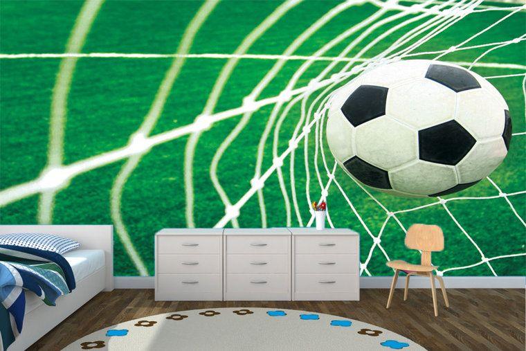 Behang Kinderkamer Voetbal : Voetbal behang goal muurdeco kids slaapkamer sebas in