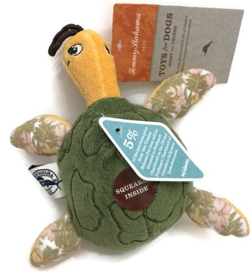 Tommy Bahama Pet Dog Toy Turtle Ball Squeak Plush Hawaiian Nwt