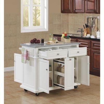 42 In W Saffron Granite Countertop Kitchen Cart With