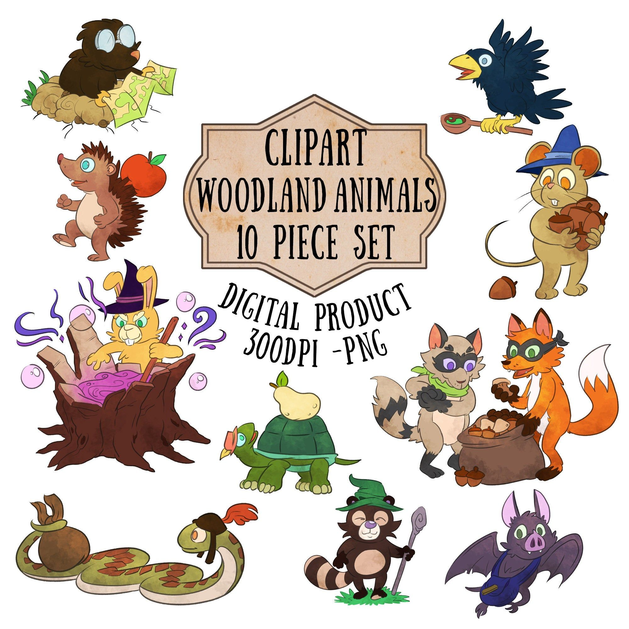Cute Woodland Animals Clipart, Forest Animal Scrapbooking